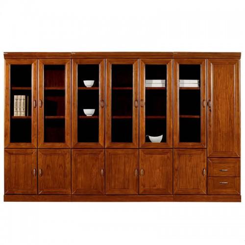 实木文件柜组合带玻璃门办公书柜CY2016