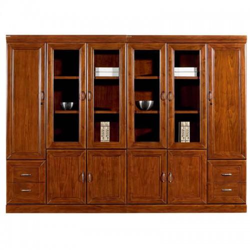实木文件柜组合办公书柜带玻璃门CY3116-1