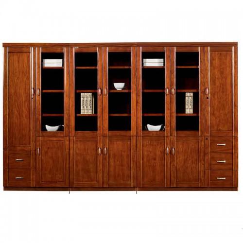 实木文件柜组合办公书柜带玻璃门CY2103