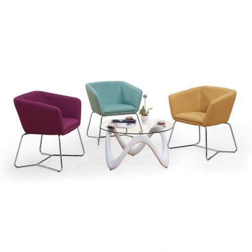 北欧创意办公室不锈钢腿休闲椅接待洽谈沙发椅16