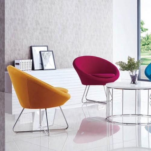 北欧办公室不锈钢腿休闲沙发椅接待椅25