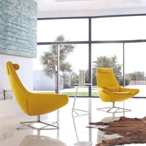 北欧办公室不锈钢腿可旋转休闲沙发椅26