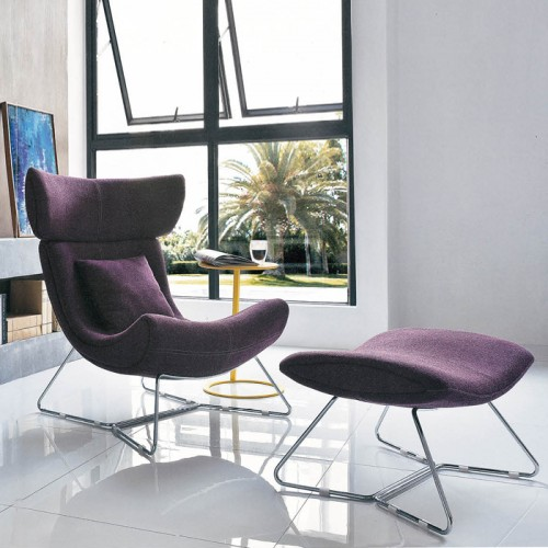 北欧创意办公室不锈钢腿休闲沙发椅28