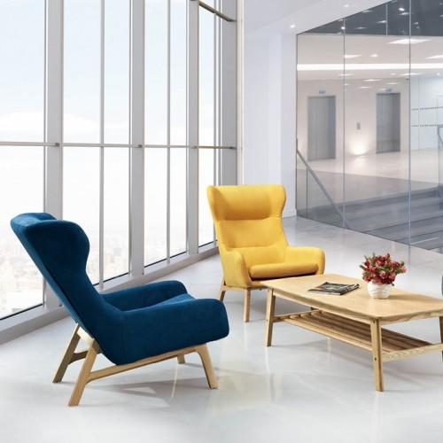 北欧创意办公室实木腿休闲沙发椅接待椅29
