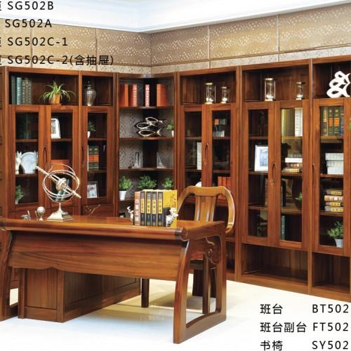 书房书柜 纯实木转角书柜 现代实木三开门书柜转角书柜_ SG502C-1