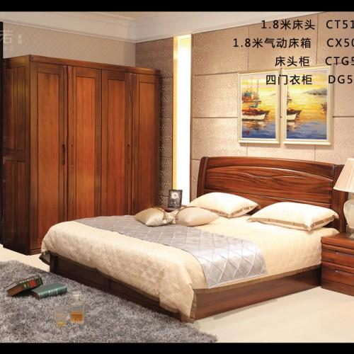 纯实木双人床四门衣柜 现代简约套房双人床四门衣柜组合_CT511