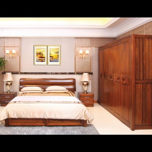 主卧婚床双人床+五门衣柜 现代简约风格双人床+五门衣柜 纯实木双人床五门衣柜_CT510-180