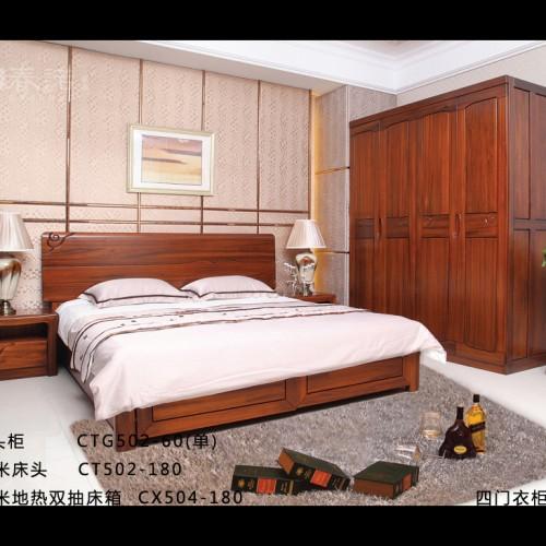 主卧套房双人床婚床四门衣柜 现代纯实木双人床四门衣柜_CT503-180
