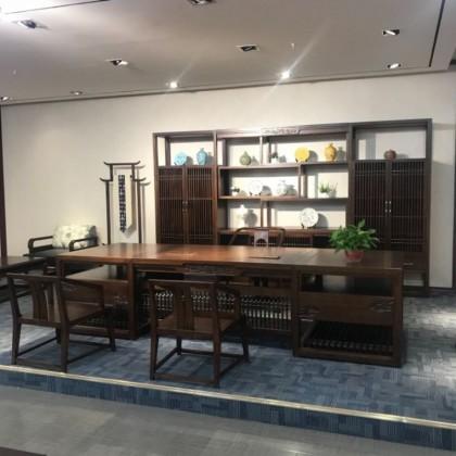 2018新中式实木板台书柜沙发会议桌