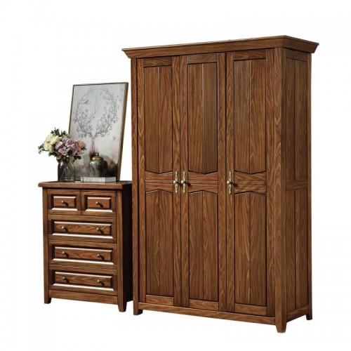 卧室三门衣柜五斗柜 纯实木三门衣柜五斗柜 现代美式三门衣柜五斗柜_803