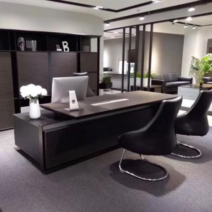 办公家具 班台 文件柜 真皮座椅组合