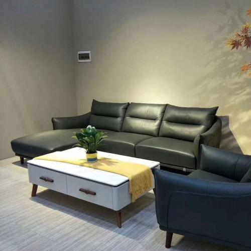 休闲客厅真皮转角沙发