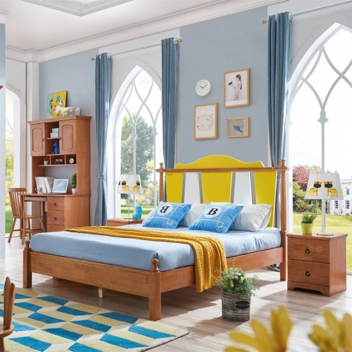 纯实木儿童套房1.5米床三门衣柜+学习桌  简约北欧儿童套房1.5米床个性三门衣柜+学习桌_无题会话03747