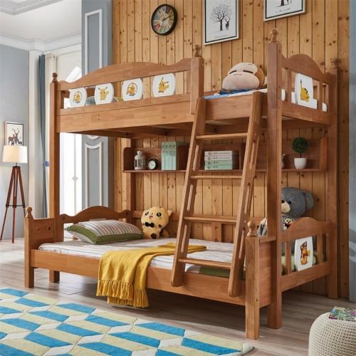 纯实木儿童套房儿童床上下铺带书架儿童上下铺 北欧儿童床圆角边上下铺推拉门衣柜_无题会话03888