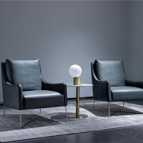 简约时尚白色软皮休闲椅实木休闲桌 客厅卧室阳台灰色白色橙色休闲椅休闲桌_1804FKS--JJ57097