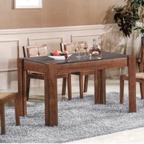 现代实木复古火烧石餐桌椅组合902