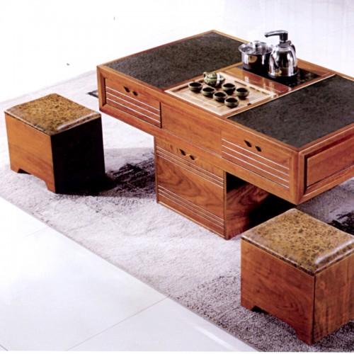 现代时尚实木火烧石茶几带凳子805