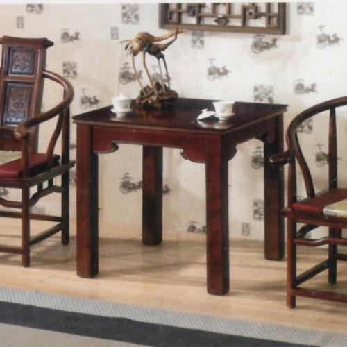 创意雕花靠背橡木茶桌茶椅组合X-021