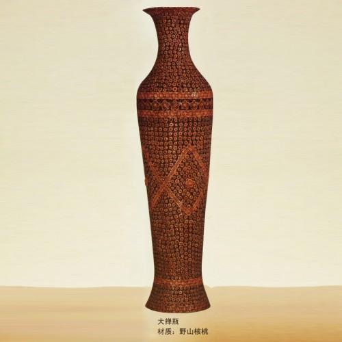 野山核桃工艺品摆件大掸瓶01