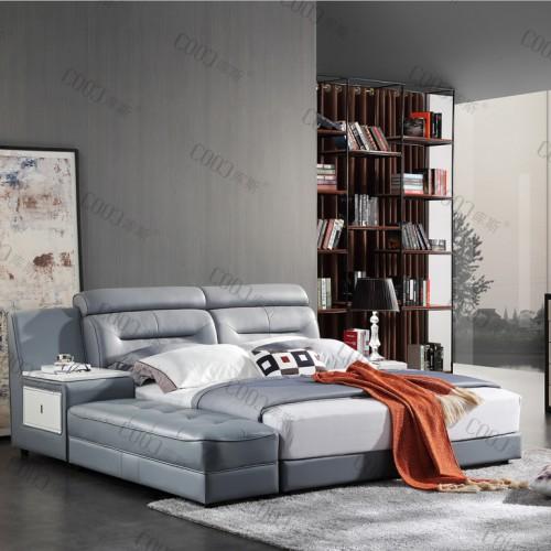 时尚软皮双人床 灰色软皮双人床婚床带床箱双人床_2339