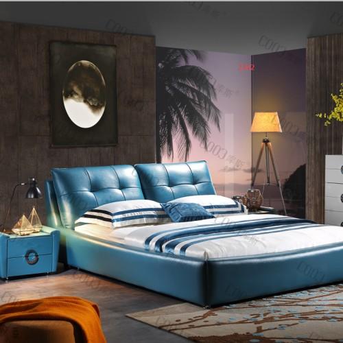 主卧软皮双人床 时尚蓝色海洋软皮双人床婚床 现代软皮床_2342