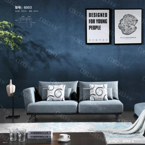 时尚布艺双人位沙发 客厅时尚天蓝色布艺双人沙发躺椅_6003
