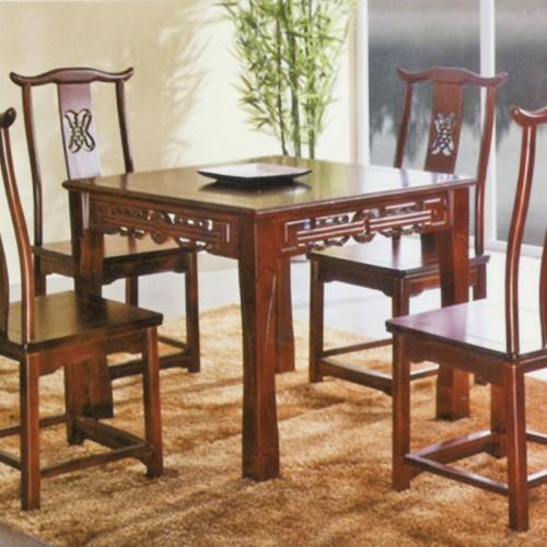 中式橡木明清仿古正方形餐桌 01