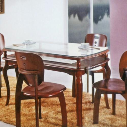 创意橡木玻璃面长形餐桌 501