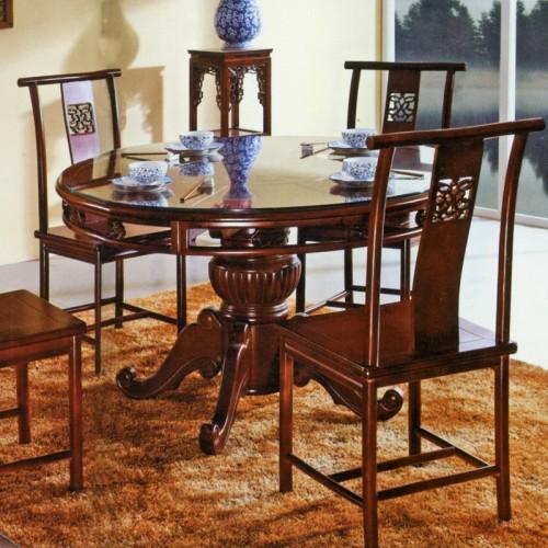 橡木雕花仿古圆形餐桌 29