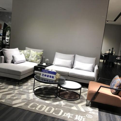 时尚浅色布艺沙发转角沙发 客厅转角布艺沙发浅色双人位沙发_6019