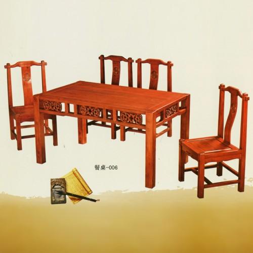 雕花榆木餐桌椅餐台006