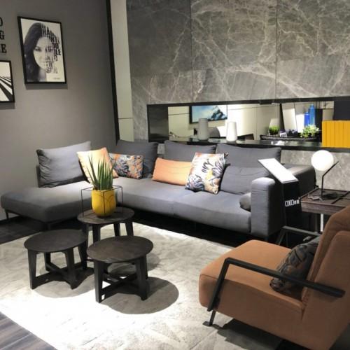 时尚布艺转角沙发单人沙发 客厅灰色布艺转角沙发单人位沙发_6008
