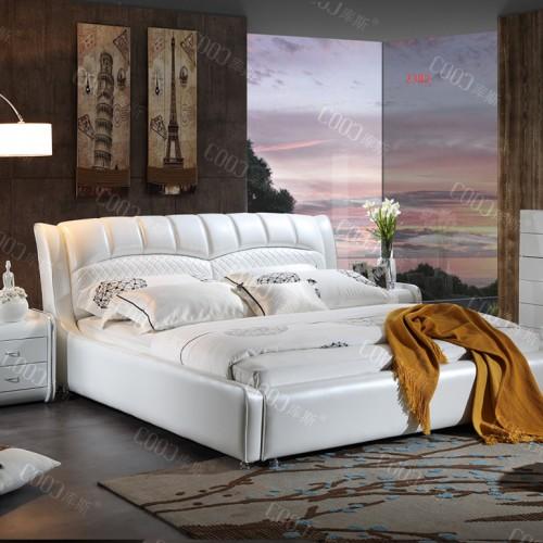 时尚软皮双人床  清爽白色双人床婚床 高端大气软皮双人床婚床_2382
