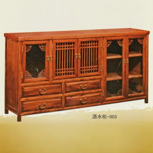 简约榆木餐边柜客厅餐厅厨房储物柜酒水柜003