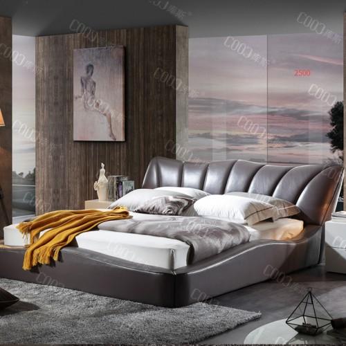 时尚软皮双人床  主卧棕色贝壳双人床婚床 简约个性低箱双人床_2500