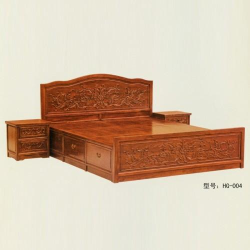 明清古典榆木床仿古双人雕花大床 HG-004