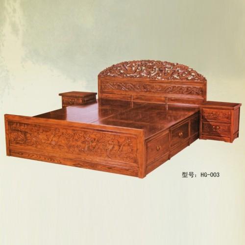 中式实木双人床榆木雕花大床HG-003
