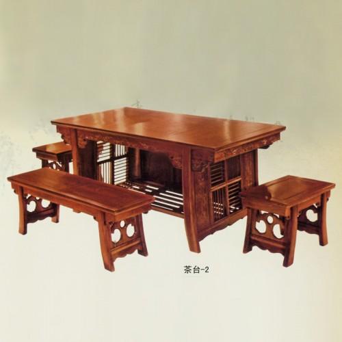 中式老榆木雕花茶台-2