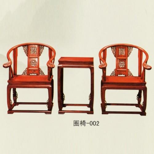榆木家具雕花太师椅实木圈椅-002