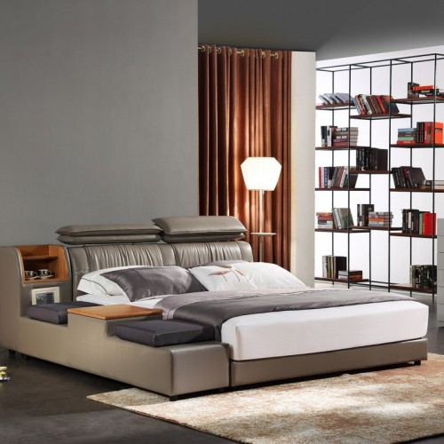 时尚咖色双人床带床榻双人床 现代简约咖啡色软皮双人床带床榻双人床_KS2363