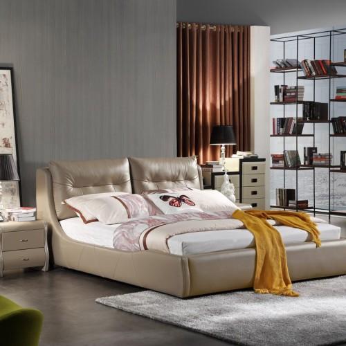 时尚香槟色软皮双人床低箱  现代简约香槟色软皮双人床低箱床_KS2365