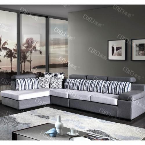 时尚灰色布艺沙发转角沙发  简约客厅布艺沙发转角沙发_9855