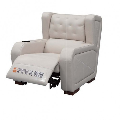 白色真皮单人沙发头等舱躺椅 简约时尚浅色真皮沙发头等舱座椅躺椅_B10