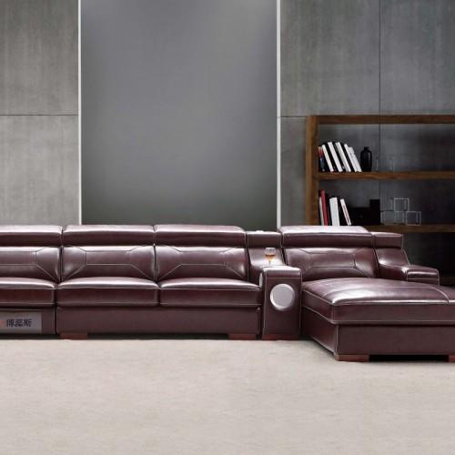 时尚酒红色真皮转角沙发单人沙发  现代简约客厅酒红色真皮转角沙发单人沙发_B603