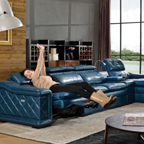 时尚蓝色软皮转角沙发躺椅  客厅高档蓝色真皮转角沙发头等舱躺椅_B604