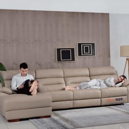时尚软皮多功能沙发头等舱躺椅  客厅多功能软皮转角沙发_B606