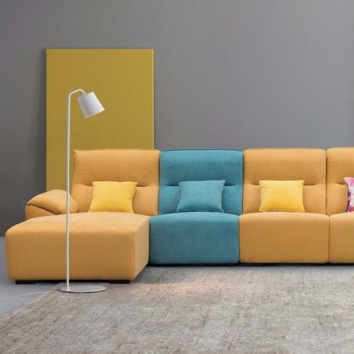 时尚亮色布艺转角沙发 客厅阳光清新布艺转角沙发_K6505
