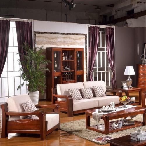 现代中式客厅沙发1+2+3茶几组合 实木布艺沙发1+2+3茶几组合_YZSY17209