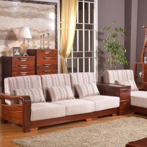 实木布艺结合三人位沙发贵妃椅 现代简约布艺三人位沙发贵妃椅_603
