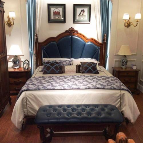 简约美式双人床深色软包床头双人床 美式实木双人床蓝色软包双人床_15